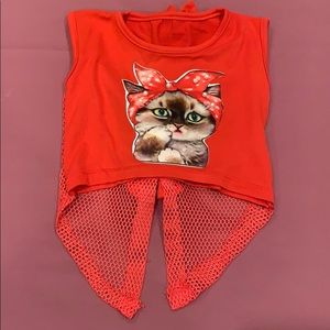 Other - Bedazzled Cat Shirt for Girls! NWOT Bows on back!